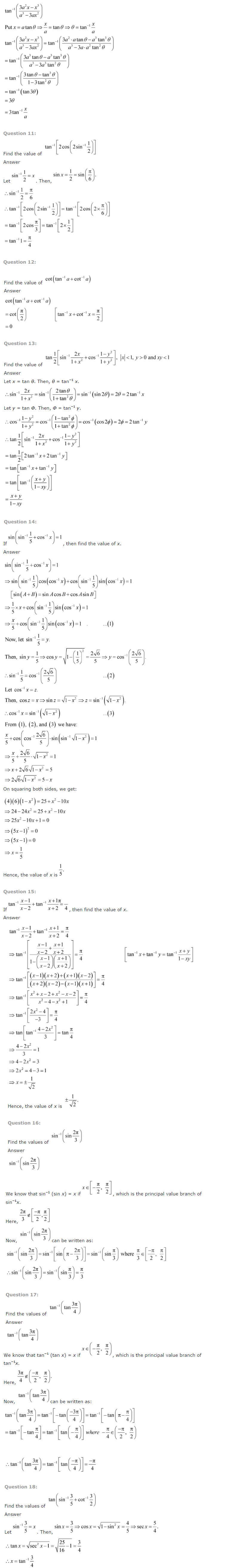 NCERT Solutions for Class 12 Maths Chapter 2 Inverse Trigonometric Functions ex 2.3