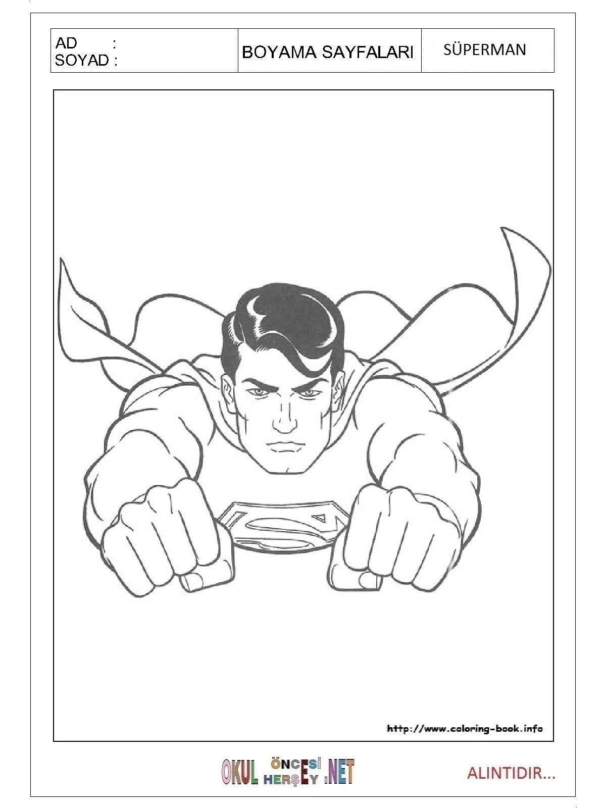 Süperman Boyama Sayfalari