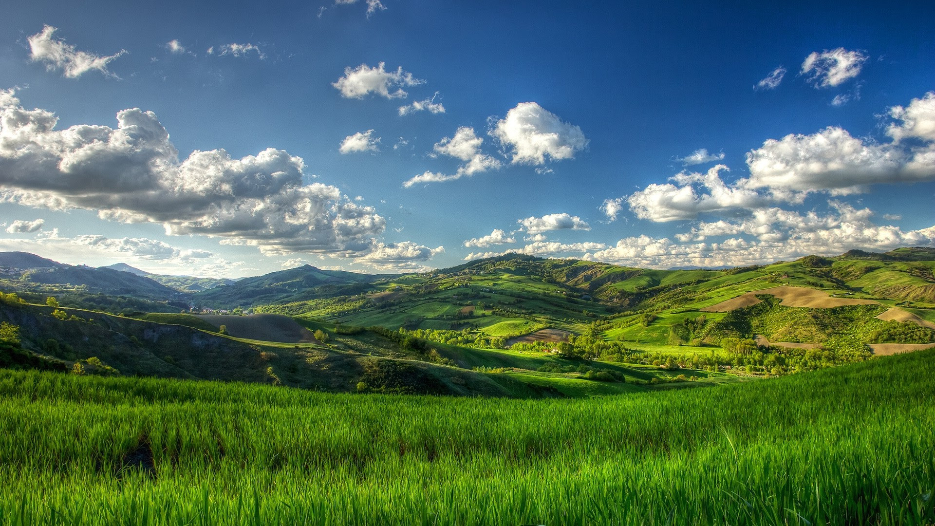 nature, Landscape, Trees, Clouds, Hill, Field, Grass ...