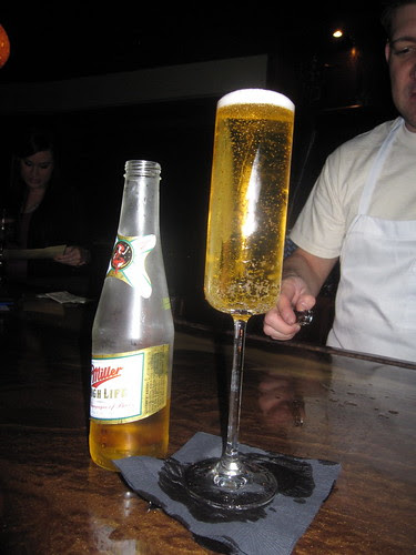 Champagne of beers in a champagne glass