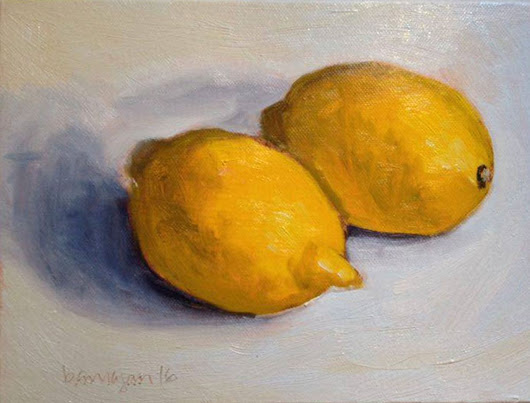Two Lemons Still Life Oil Painting on Canvas Board (2016) Oil painting by Caridad I. Barragan
