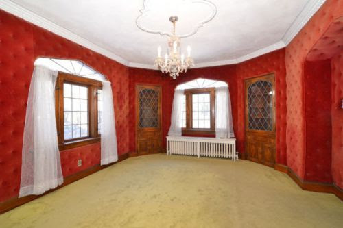 Charming 1930 Tudor Revival time capsule house - with upholstered dining room walls! - Retro Renovation