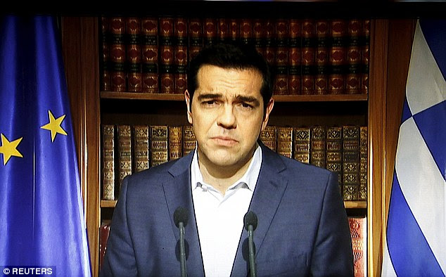 Defiant: Greek Prime Minister Alexis Tsipras (pictured) has urged Greeks to reject 'blackmail' when they vote on whether the country accepts the terms of a bailout agreement on Sunday