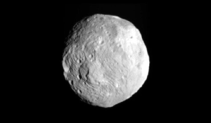An image of asteroid Vesta that was taken by the Dawn spacecraft on July 9, 2011.