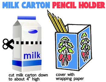 Milk Carton Pencil Holders