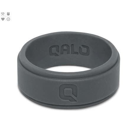 QALO Men?s Charcoal Step Edge Q2X Silicone Wedding Ring QS