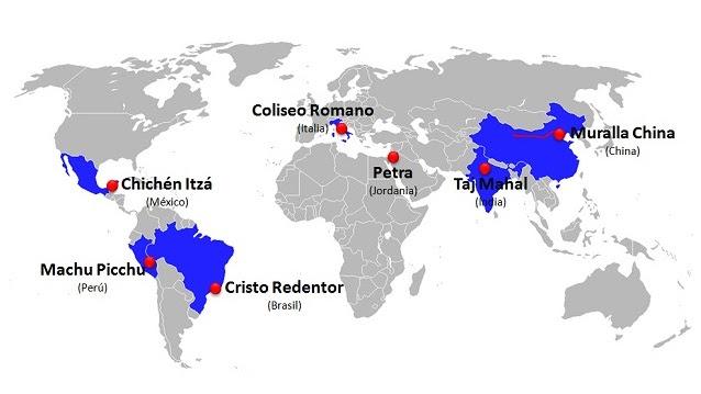 7 nuevas maravillas del mundo (mapa)