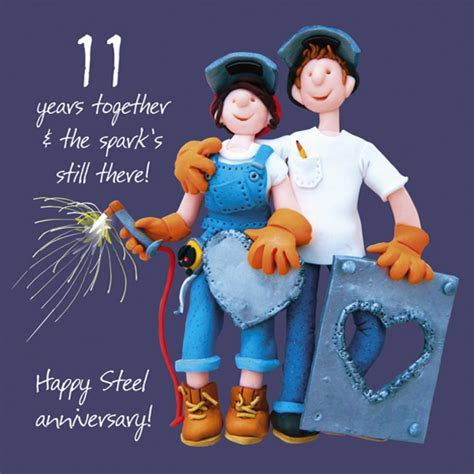 Happy 11th Steel Anniversary Greeting Card One Lump or Two
