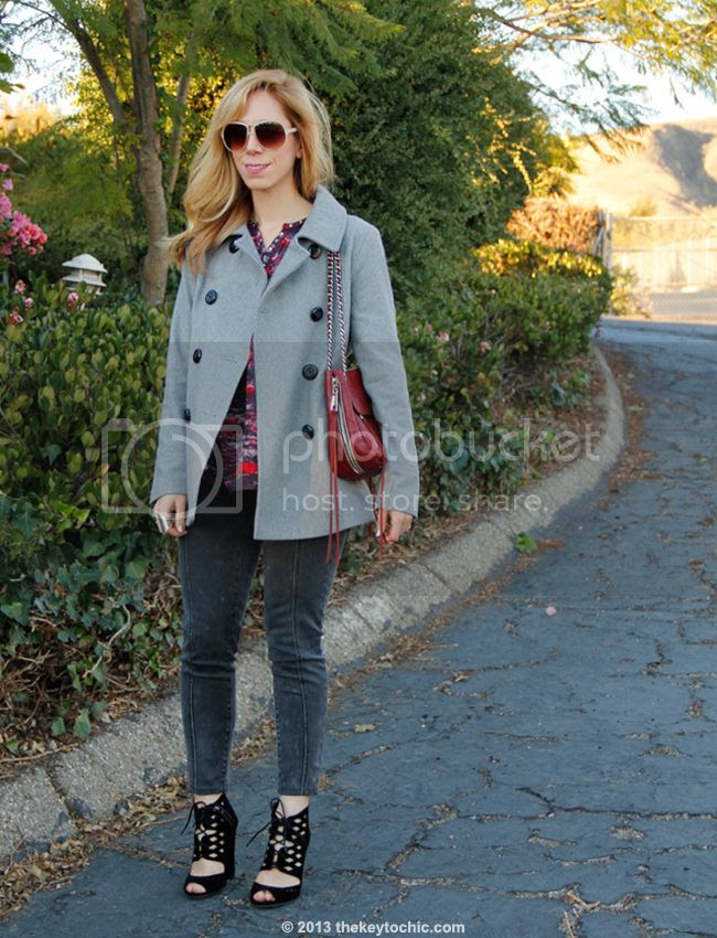 LA fashion blogger The Key To Chic wears an Isabel Marant for H&M bouse, Mossimo skinny jeans, an Old Navy wool peacoat, Cutout Qupid Immortal 23 heels c/o AMI Clubwear and a Rebecca Minkoff Swing handbag