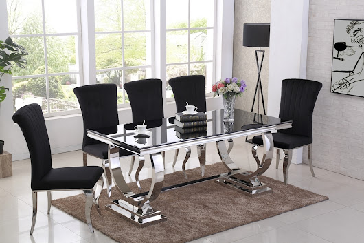 Black glass dining table and 6 black chairs - Homegenies