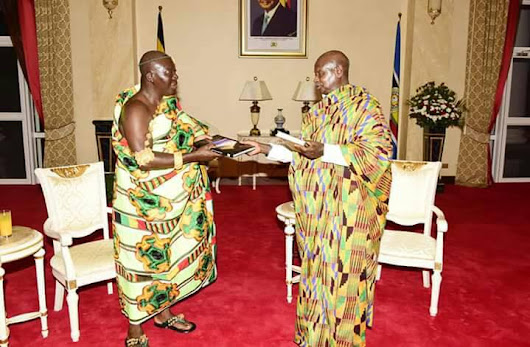 Majestic Visit of Ghanaian Traditional Leader of Ashanti Asantehene Otumfuo Osei Tutu II in Buganda.