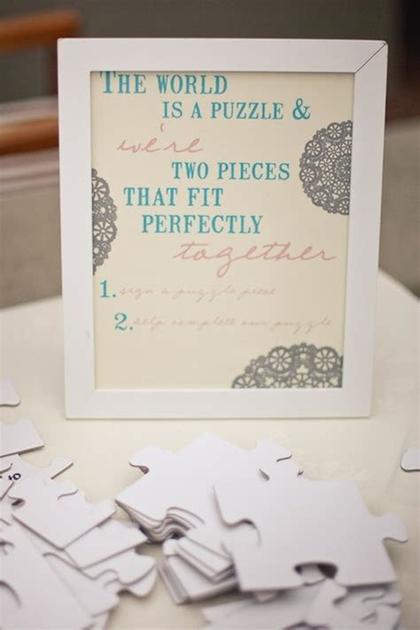 Instead of a guest book, sign puzzle pieces love the