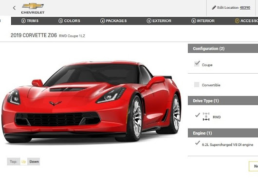 Only One Small Change in the 2019 Corvette Z06 Configurator