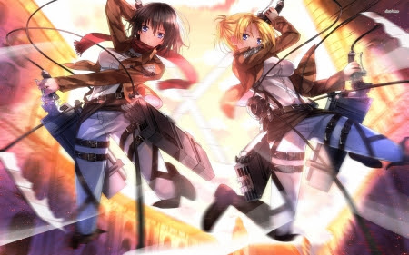 Mikasa Ackerman And Annie Leonhardt Other Anime Background Wallpapers On Desktop Nexus Image 1580176