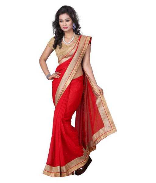 FS-10 Festival Special Sarees Bridal Red Saree With Golden Border And Tiny Stone Design For Women