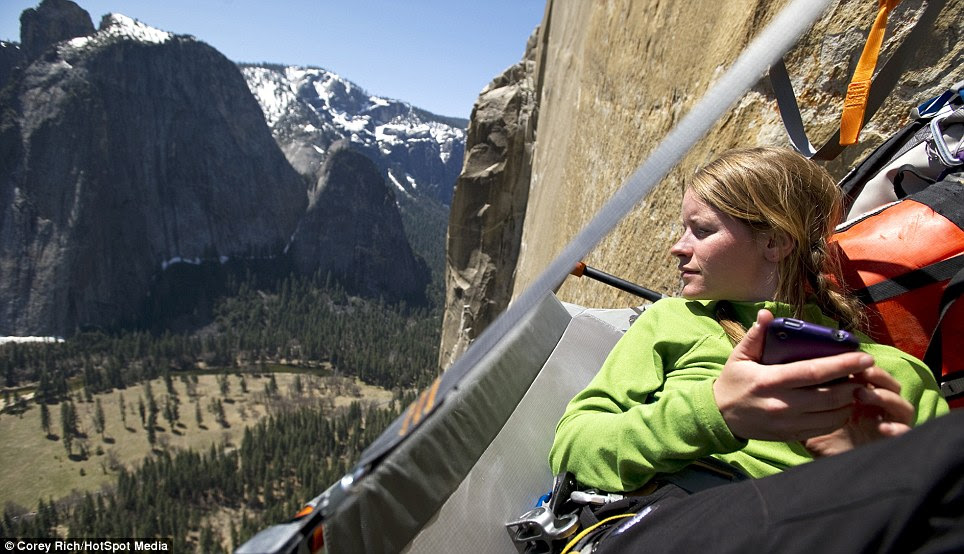 Probably the best place to get a signal: 3000ft up the mountain in Yosemite National park
