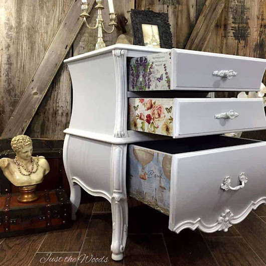 OMG! How elegant is this dresser from Just the Woods? I'm loving the hidden d...