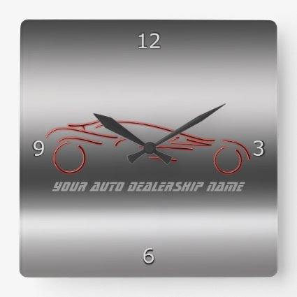 Stylized Neon Red Sportscars on metallic-look Wall Clocks
