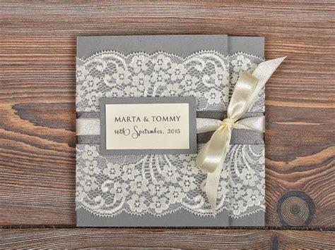 Ivory Lace Wedding Invitation, Pocket Fold Wedding