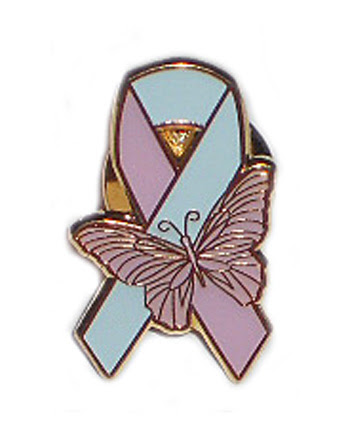 Pregnancy & Infant Loss Awareness Ribbon Pin with Butterfly
