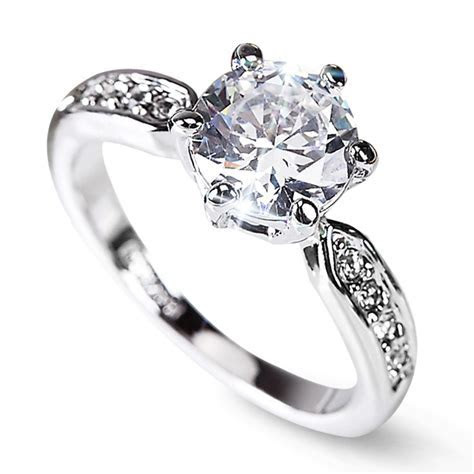 Clearance Sale Lozenge Engagement Rings Women Silver