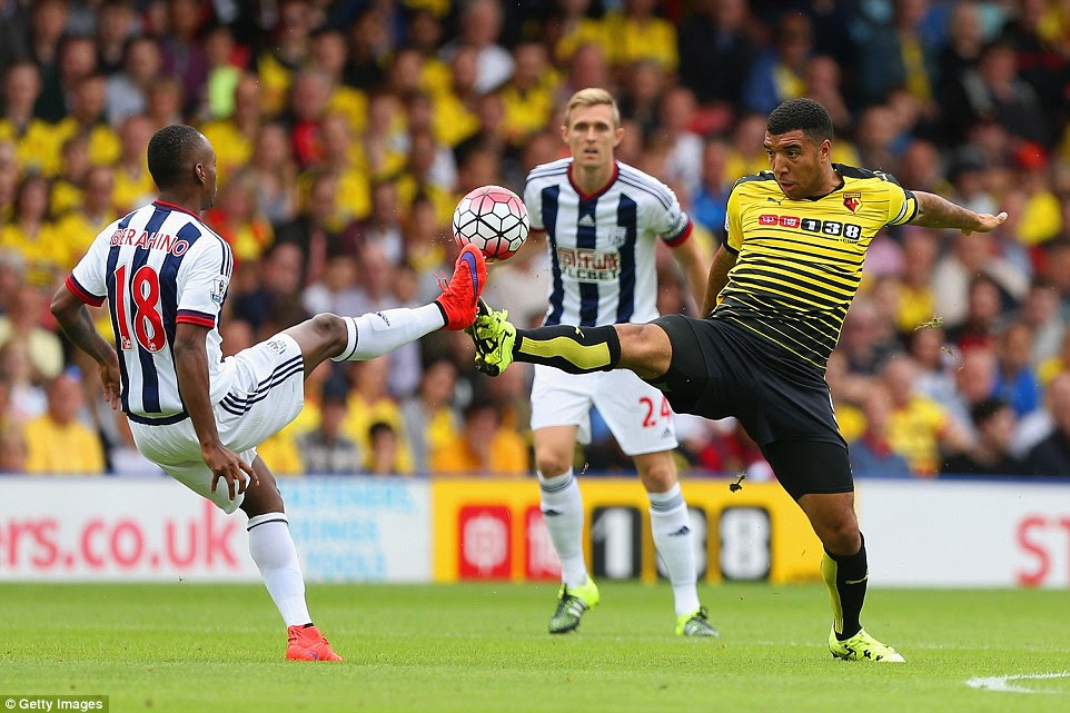 Watford captain Troy Deeney and West Brom forward Saido Berahino compete for the ball during their clash on Saturday afternoon