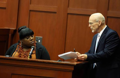 Defense attorney Don West (R) questions witness Rachel Jeantel during George Zimmerman's trial in Seminole circuit court in Sanford, Florida on 27 June 2013. by Pan-African News Wire File Photos
