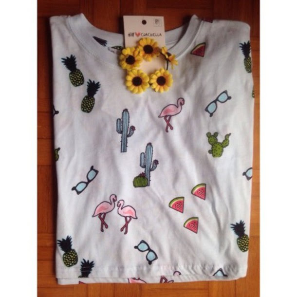 t-shirt, h&m, coachella, pineapple print, sunglasses ...