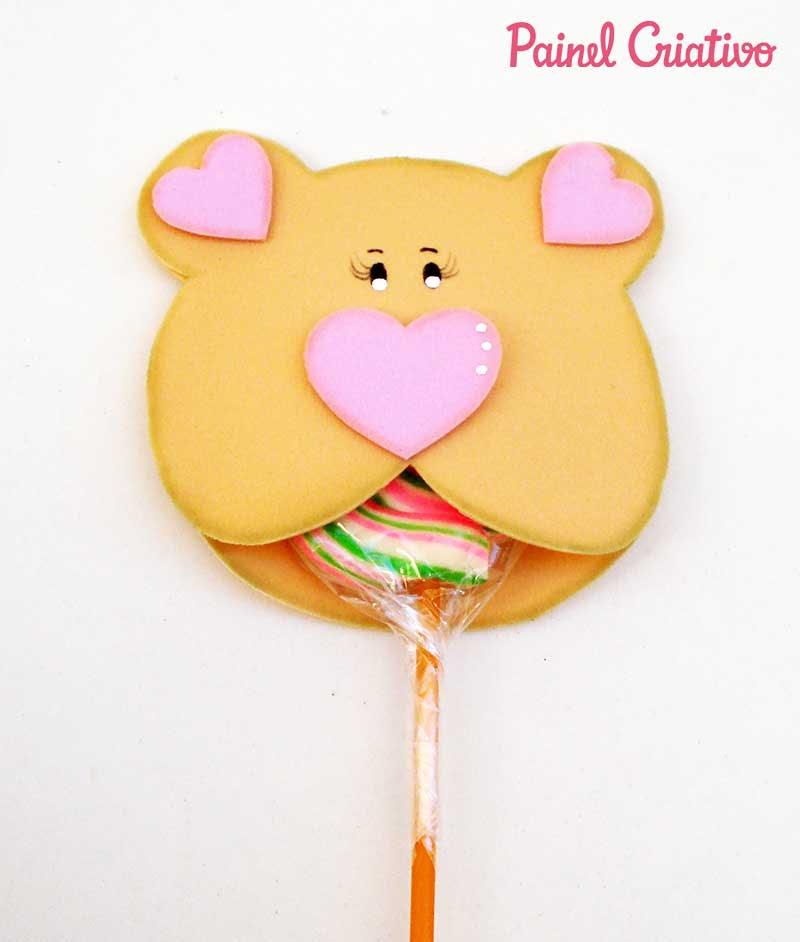 lembrancinha dia das criancas eva ursinho porta pirulito escola artesanato painel criativo 1