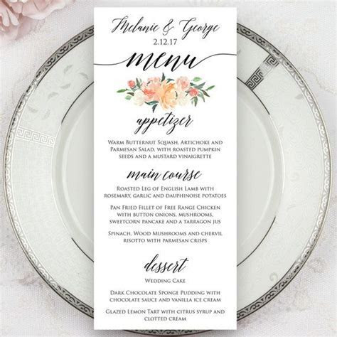 Wedding Menus, Printed Menus, Menu Cards, Dinner Menus