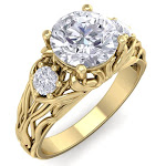 1 3/4 Carat Round Shape Diamond Intricate Vine Engagement Ring in 14K Yellow Gold (5.50 g) (, SI2-I1), Size 6.5 by SuperJeweler