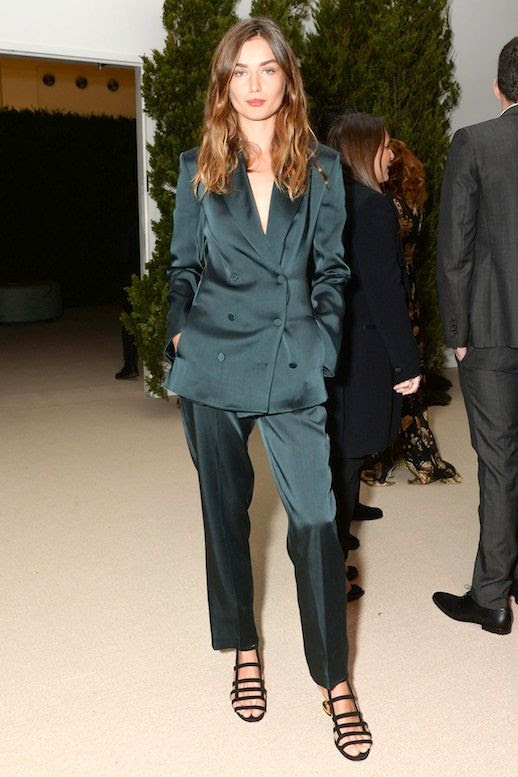 Le Fashion Blog Model Style Andreea Diaconu Dark Green Satin Suit Black Low Strappy Sandals Via Harpers Bazaar