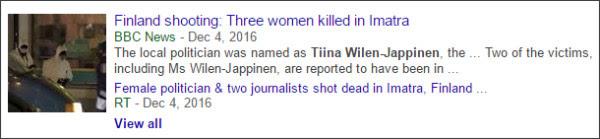 https://www.google.com/search?hl=en&gl=us&tbm=nws&authuser=0&q=Tiina+Wilen-Jappinen&oq=Tiina+Wilen-Jappinen&gs_l=news-cc.12..43j43i53.1933.1933.0.3560.1.1.0.0.0.0.125.125.0j1.1.0...0.0...1ac.2.K6HG1RaPzEY