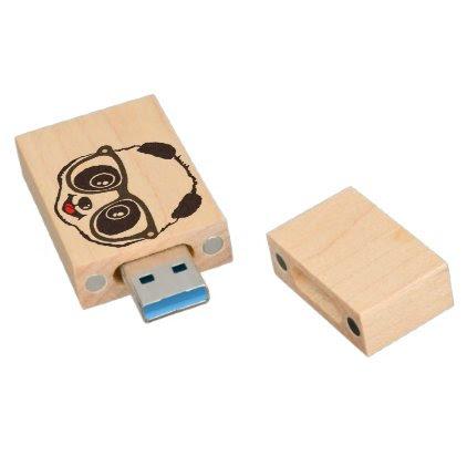 Cute Panda Wood Flash Drive