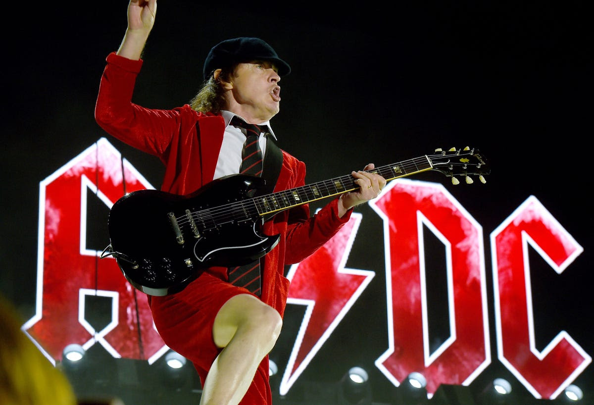 60-year-old Angus Young of AC/DC rocked the stage during opening night of the three-day festival.