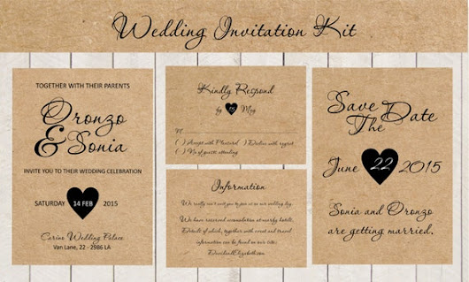 Wedding Ceremony Invitation Kit Rustic Kraft by BSNPartyArt