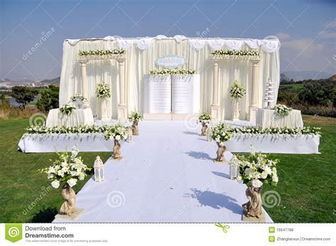 Outdoor Wedding Stage stock photo. Image of decoration