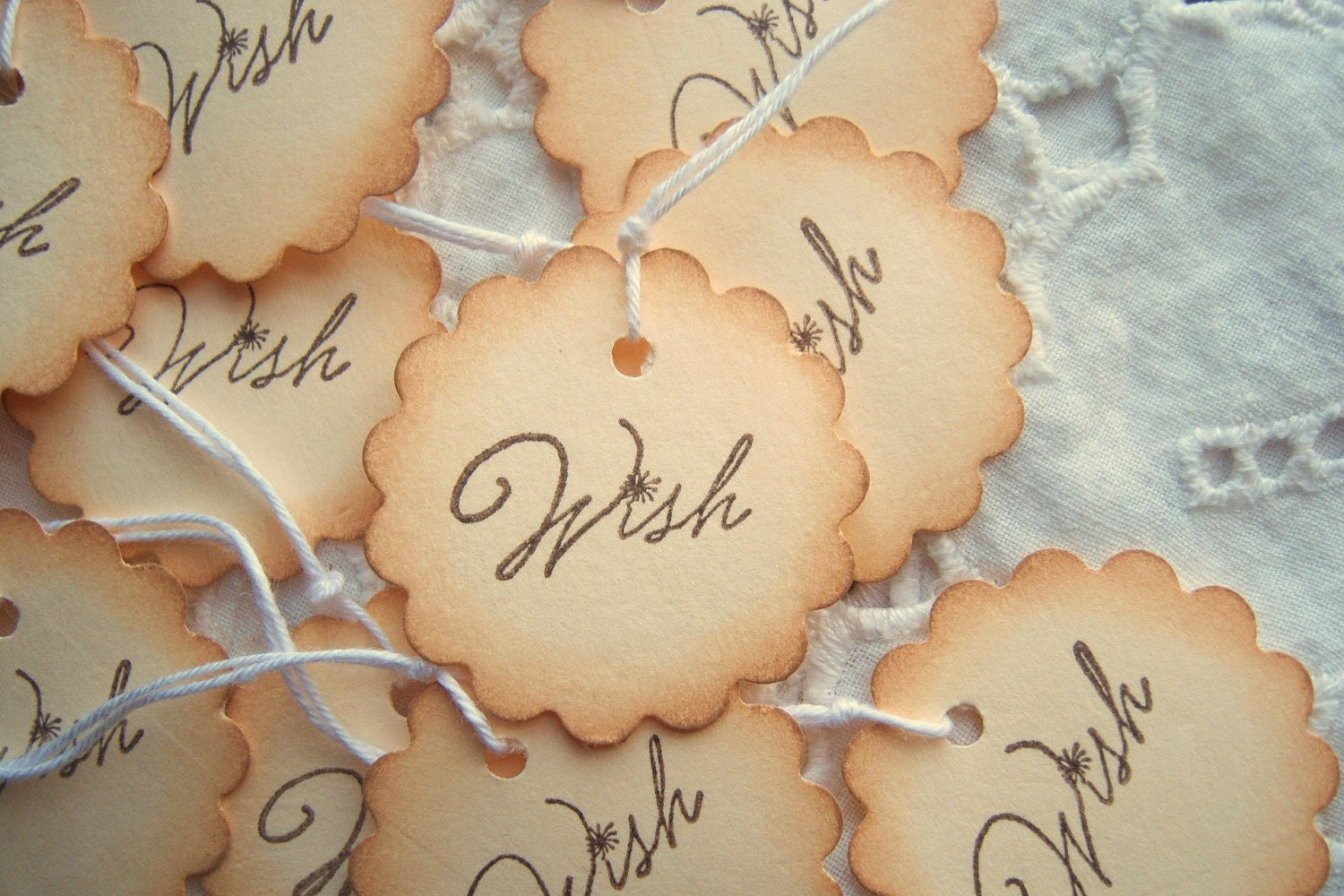 WISH Scalloped Circle Tags Hand Aged Vintage Inspired