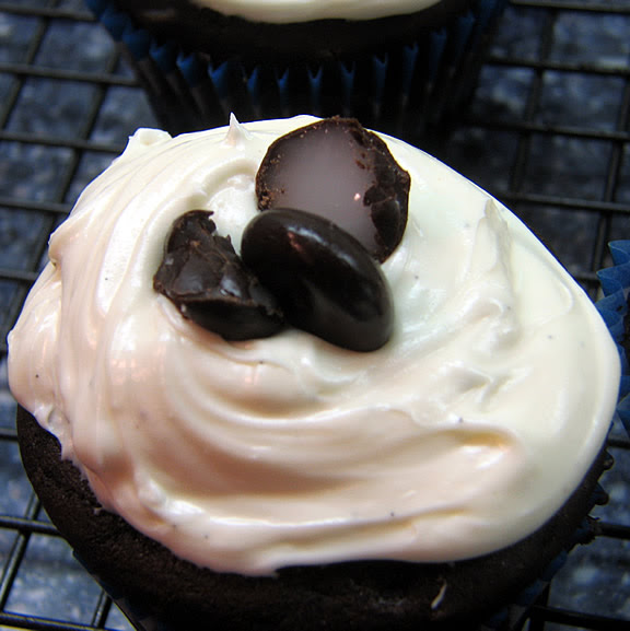 Candy Cupcake #3: Junior Mint Chocolate Cupcakes with Vanilla Mint Frosting
