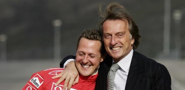 Michael Schumacher e Luca di Montezemolo durante evento da Ferrari em 2006