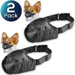 "2 Pack Insten Pet Dog Muzzle Guardian Gear Black Fabric Nylon Adjustable No Bite Bark Size 7"" 7 inch"