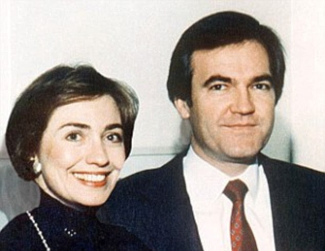 Out in the open: Rovin said that Hillary and Vince Foster's affair was an 'open secret' among members of his circle (Clinton and Foster above)