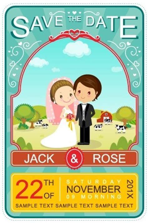 Cute cartoon style wedding invitation card vector Free