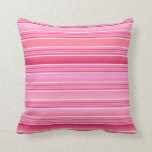Pink and White Cotton Candy Pink Stripes Throw Pillow
