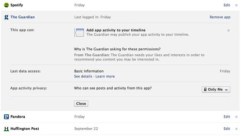 Facebook App Settings: Privacy | The Guardian | Who can see activity? Only Me by stevegarfield