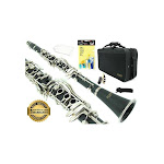 D'Luca 200Nm 200 Series Ebonite 17 Keys BB Clarinet with Double Barrel, Canvas Case, Cleaning Kit, Black