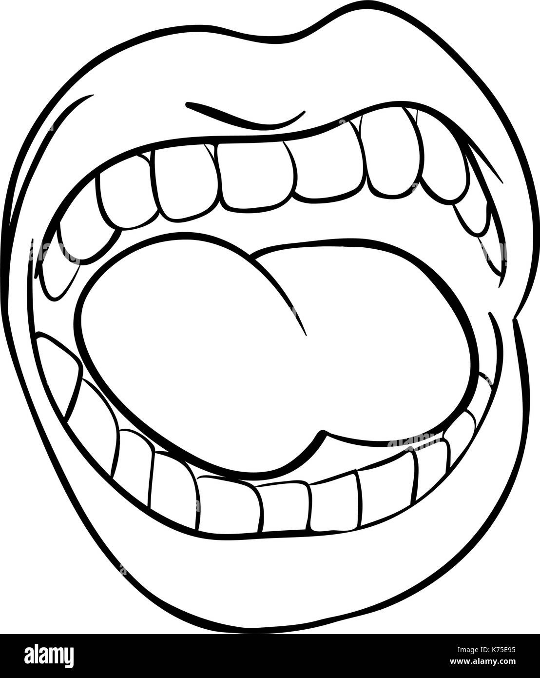 shouting lips with teeth and tongue cartoon outline vector symbol K75E95