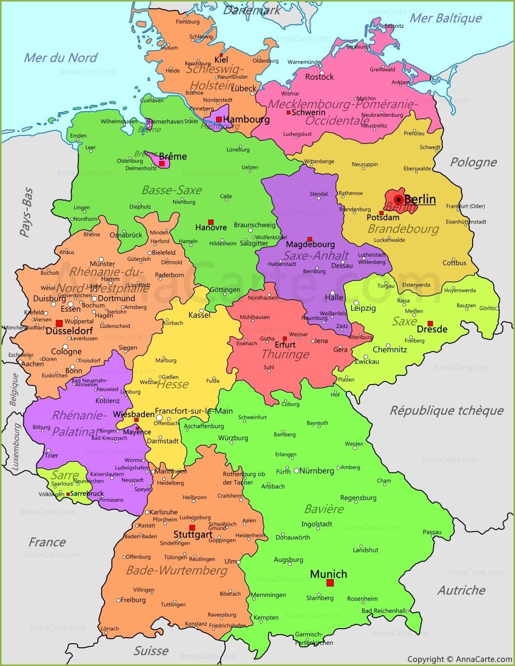 Carte Lander Allemand.Carte D Allemagne Carte