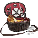 Northlight 2-Person Hand Woven Red Sateen Chocolate Brown Willow Picnic Basket Set with Accessories