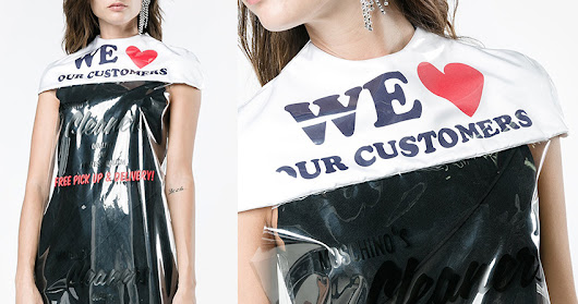 moschino dry cleaning cape dress is essentially a $730 plastic bag